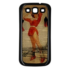 Vintage Newspaper Print Sexy Hot Gil Elvgren Pin Up Girl Paris Eiffel Tower Western Country Naughty  Samsung Galaxy S3 Back Case (Black)