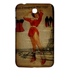 Vintage Newspaper Print Sexy Hot Gil Elvgren Pin Up Girl Paris Eiffel Tower Western Country Naughty  Samsung Galaxy Tab 3 (7 ) P3200 Hardshell Case