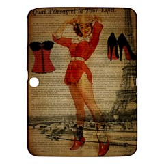Vintage Newspaper Print Sexy Hot Gil Elvgren Pin Up Girl Paris Eiffel Tower Western Country Naughty  Samsung Galaxy Tab 3 (10.1 ) P5200 Hardshell Case