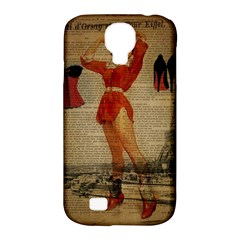 Vintage Newspaper Print Sexy Hot Gil Elvgren Pin Up Girl Paris Eiffel Tower Western Country Naughty  Samsung Galaxy S4 Classic Hardshell Case (pc+silicone)