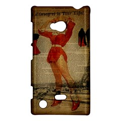 Vintage Newspaper Print Sexy Hot Gil Elvgren Pin Up Girl Paris Eiffel Tower Western Country Naughty  Nokia Lumia 720 Hardshell Case