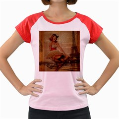 Cute Sweet Sailor Dress Vintage Newspaper Print Sexy Hot Gil Elvgren Pin Up Girl Paris Eiffel Tower Women s Cap Sleeve T-Shirt (Colored)