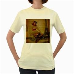 Cute Sweet Sailor Dress Vintage Newspaper Print Sexy Hot Gil Elvgren Pin Up Girl Paris Eiffel Tower  Womens  T Shirt (yellow)