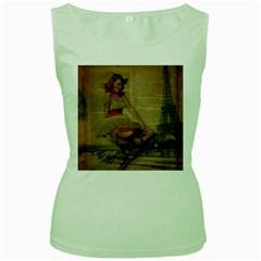Cute Sweet Sailor Dress Vintage Newspaper Print Sexy Hot Gil Elvgren Pin Up Girl Paris Eiffel Tower Womens  Tank Top (Green)