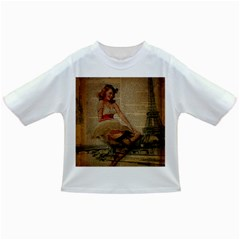 Cute Sweet Sailor Dress Vintage Newspaper Print Sexy Hot Gil Elvgren Pin Up Girl Paris Eiffel Tower Baby T-shirt