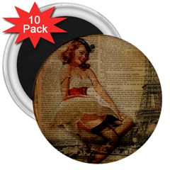 Cute Sweet Sailor Dress Vintage Newspaper Print Sexy Hot Gil Elvgren Pin Up Girl Paris Eiffel Tower 3  Button Magnet (10 Pack)