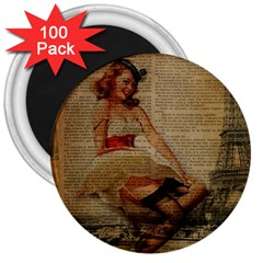 Cute Sweet Sailor Dress Vintage Newspaper Print Sexy Hot Gil Elvgren Pin Up Girl Paris Eiffel Tower 3  Button Magnet (100 pack)