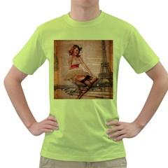 Cute Sweet Sailor Dress Vintage Newspaper Print Sexy Hot Gil Elvgren Pin Up Girl Paris Eiffel Tower Mens  T-shirt (Green)