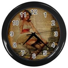 Cute Sweet Sailor Dress Vintage Newspaper Print Sexy Hot Gil Elvgren Pin Up Girl Paris Eiffel Tower Wall Clock (black)