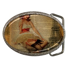 Cute Sweet Sailor Dress Vintage Newspaper Print Sexy Hot Gil Elvgren Pin Up Girl Paris Eiffel Tower Belt Buckle (Oval)
