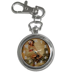 Cute Sweet Sailor Dress Vintage Newspaper Print Sexy Hot Gil Elvgren Pin Up Girl Paris Eiffel Tower Key Chain & Watch