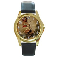 Cute Sweet Sailor Dress Vintage Newspaper Print Sexy Hot Gil Elvgren Pin Up Girl Paris Eiffel Tower Round Metal Watch (Gold Rim)