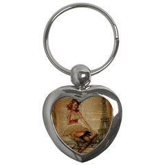 Cute Sweet Sailor Dress Vintage Newspaper Print Sexy Hot Gil Elvgren Pin Up Girl Paris Eiffel Tower Key Chain (Heart)