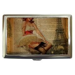 Cute Sweet Sailor Dress Vintage Newspaper Print Sexy Hot Gil Elvgren Pin Up Girl Paris Eiffel Tower Cigarette Money Case