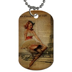 Cute Sweet Sailor Dress Vintage Newspaper Print Sexy Hot Gil Elvgren Pin Up Girl Paris Eiffel Tower Dog Tag (Two-sided)