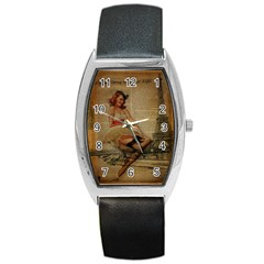 Cute Sweet Sailor Dress Vintage Newspaper Print Sexy Hot Gil Elvgren Pin Up Girl Paris Eiffel Tower Tonneau Leather Watch