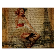 Cute Sweet Sailor Dress Vintage Newspaper Print Sexy Hot Gil Elvgren Pin Up Girl Paris Eiffel Tower Jigsaw Puzzle (Rectangle)