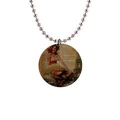 Cute Sweet Sailor Dress Vintage Newspaper Print Sexy Hot Gil Elvgren Pin Up Girl Paris Eiffel Tower Button Necklace