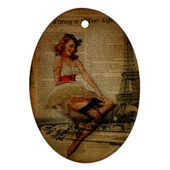 Cute Sweet Sailor Dress Vintage Newspaper Print Sexy Hot Gil Elvgren Pin Up Girl Paris Eiffel Tower Oval Ornament (two Sides)