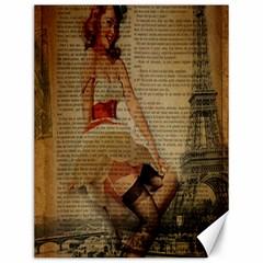 Cute Sweet Sailor Dress Vintage Newspaper Print Sexy Hot Gil Elvgren Pin Up Girl Paris Eiffel Tower Canvas 12  x 16  (Unframed)