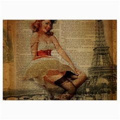 Cute Sweet Sailor Dress Vintage Newspaper Print Sexy Hot Gil Elvgren Pin Up Girl Paris Eiffel Tower Canvas 12  x 18  (Unframed)