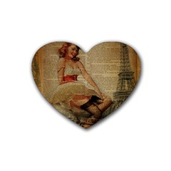 Cute Sweet Sailor Dress Vintage Newspaper Print Sexy Hot Gil Elvgren Pin Up Girl Paris Eiffel Tower Drink Coasters (heart)