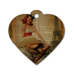 Cute Sweet Sailor Dress Vintage Newspaper Print Sexy Hot Gil Elvgren Pin Up Girl Paris Eiffel Tower Dog Tag Heart (two Sided)