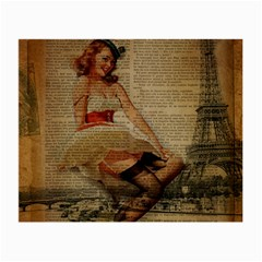 Cute Sweet Sailor Dress Vintage Newspaper Print Sexy Hot Gil Elvgren Pin Up Girl Paris Eiffel Tower Glasses Cloth (Small, Two Sided)