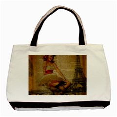 Cute Sweet Sailor Dress Vintage Newspaper Print Sexy Hot Gil Elvgren Pin Up Girl Paris Eiffel Tower Twin Sided Black Tote Bag