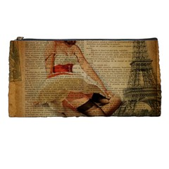 Cute Sweet Sailor Dress Vintage Newspaper Print Sexy Hot Gil Elvgren Pin Up Girl Paris Eiffel Tower Pencil Case