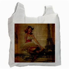 Cute Sweet Sailor Dress Vintage Newspaper Print Sexy Hot Gil Elvgren Pin Up Girl Paris Eiffel Tower Recycle Bag (One Side)