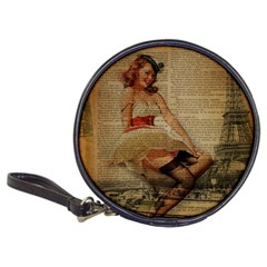 Cute Sweet Sailor Dress Vintage Newspaper Print Sexy Hot Gil Elvgren Pin Up Girl Paris Eiffel Tower CD Wallet