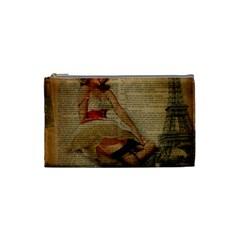 Cute Sweet Sailor Dress Vintage Newspaper Print Sexy Hot Gil Elvgren Pin Up Girl Paris Eiffel Tower Cosmetic Bag (Small)
