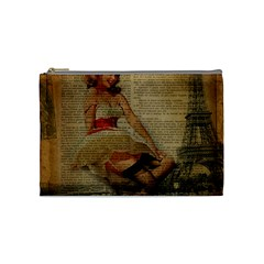 Cute Sweet Sailor Dress Vintage Newspaper Print Sexy Hot Gil Elvgren Pin Up Girl Paris Eiffel Tower Cosmetic Bag (medium)