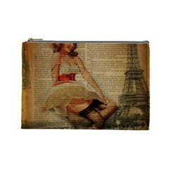 Cute Sweet Sailor Dress Vintage Newspaper Print Sexy Hot Gil Elvgren Pin Up Girl Paris Eiffel Tower Cosmetic Bag (large)