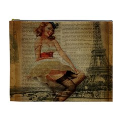 Cute Sweet Sailor Dress Vintage Newspaper Print Sexy Hot Gil Elvgren Pin Up Girl Paris Eiffel Tower Cosmetic Bag (XL)