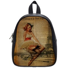 Cute Sweet Sailor Dress Vintage Newspaper Print Sexy Hot Gil Elvgren Pin Up Girl Paris Eiffel Tower School Bag (small)