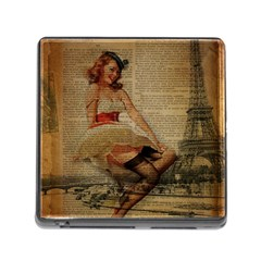 Cute Sweet Sailor Dress Vintage Newspaper Print Sexy Hot Gil Elvgren Pin Up Girl Paris Eiffel Tower Memory Card Reader with Storage (Square)