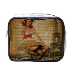 Cute Sweet Sailor Dress Vintage Newspaper Print Sexy Hot Gil Elvgren Pin Up Girl Paris Eiffel Tower Mini Travel Toiletry Bag (One Side)