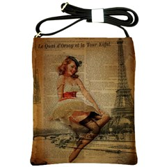 Cute Sweet Sailor Dress Vintage Newspaper Print Sexy Hot Gil Elvgren Pin Up Girl Paris Eiffel Tower Shoulder Sling Bag