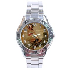 Cute Sweet Sailor Dress Vintage Newspaper Print Sexy Hot Gil Elvgren Pin Up Girl Paris Eiffel Tower Stainless Steel Watch (Men s)