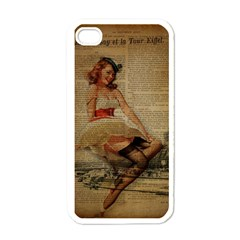 Cute Sweet Sailor Dress Vintage Newspaper Print Sexy Hot Gil Elvgren Pin Up Girl Paris Eiffel Tower Apple iPhone 4 Case (White)