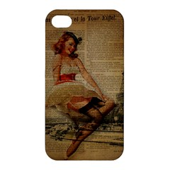 Cute Sweet Sailor Dress Vintage Newspaper Print Sexy Hot Gil Elvgren Pin Up Girl Paris Eiffel Tower Apple Iphone 4/4s Hardshell Case