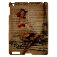 Cute Sweet Sailor Dress Vintage Newspaper Print Sexy Hot Gil Elvgren Pin Up Girl Paris Eiffel Tower Apple iPad 3/4 Hardshell Case