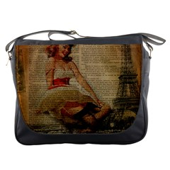 Cute Sweet Sailor Dress Vintage Newspaper Print Sexy Hot Gil Elvgren Pin Up Girl Paris Eiffel Tower Messenger Bag