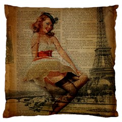 Cute Sweet Sailor Dress Vintage Newspaper Print Sexy Hot Gil Elvgren Pin Up Girl Paris Eiffel Tower Large Cushion Case (Two Sided)