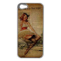 Cute Sweet Sailor Dress Vintage Newspaper Print Sexy Hot Gil Elvgren Pin Up Girl Paris Eiffel Tower Apple Iphone 5 Case (silver)