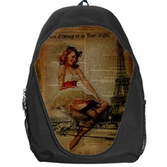 Cute Sweet Sailor Dress Vintage Newspaper Print Sexy Hot Gil Elvgren Pin Up Girl Paris Eiffel Tower Backpack Bag
