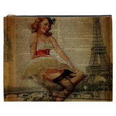 Cute Sweet Sailor Dress Vintage Newspaper Print Sexy Hot Gil Elvgren Pin Up Girl Paris Eiffel Tower Cosmetic Bag (xxxl)