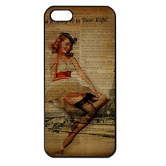 Cute Sweet Sailor Dress Vintage Newspaper Print Sexy Hot Gil Elvgren Pin Up Girl Paris Eiffel Tower Apple iPhone 5 Seamless Case (Black)